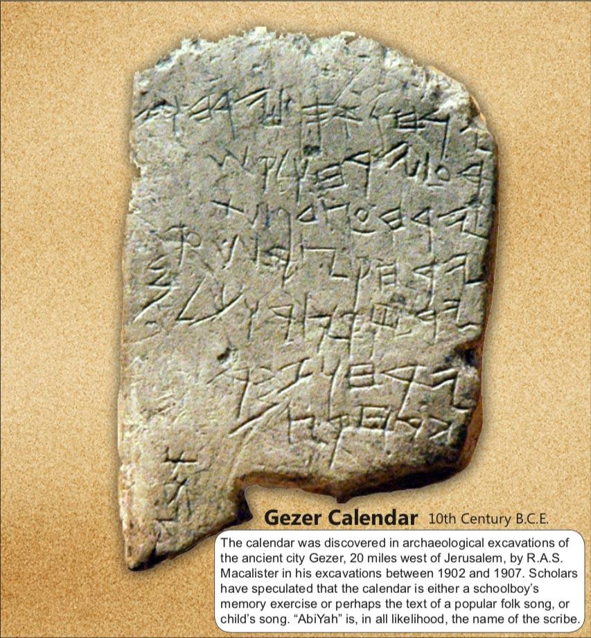 gezer calendar, gezer bib, gezer aviv, aviv calendar,