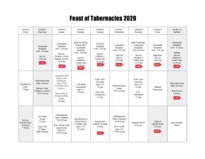 Feast of Tabernacles 2020 Event Calendar